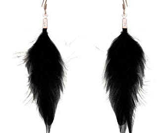 Dangling earrings very light black feathers
