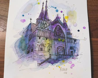 Original Cathedral Watercolor Cathedral Painting Church Watercolor Church Painting Abstract Watercolor Abstract Building Old Church Art