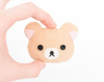Korilakkuma Bear Kawaii Sewn Felt Brooch / Pin
