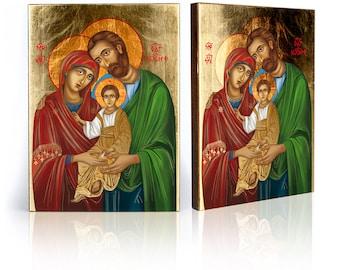 Holy Family religious icon - handmade religious wood icon, gilded, beautiful gift, 4 sizes to choose.
