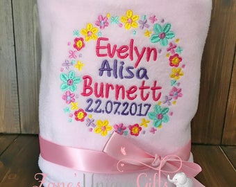 Personalised Baby Blanket / Personalised Blankets /  Embroidered Blankets / New Baby Gift / Birth Stats Gift / Newborn Blanket / Baby Shower