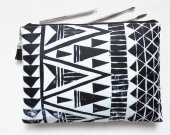 Gifts for her, Wash bag, tribal, monochrome, arrows, geo mix, travel bag, cosmetic bag, zip bag, make up bag, cosmetic pouch.
