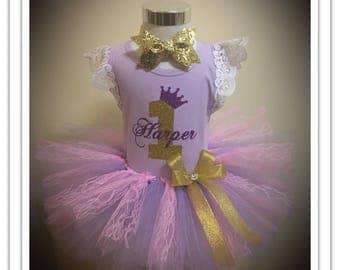 Lilac Princess Crown Tutu Birthday Outfit