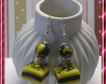 Delicious earrings, yellow and black licorice polymer clay