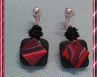 Pair of clips, red and black polymer clay