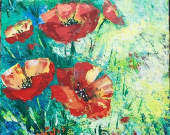 Canvas Wall Art Red Poppies Acrylic Painting On Canvas By Maria Mosanu