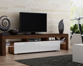 helios 200 modern tv stand for living room tv center with led lighting system