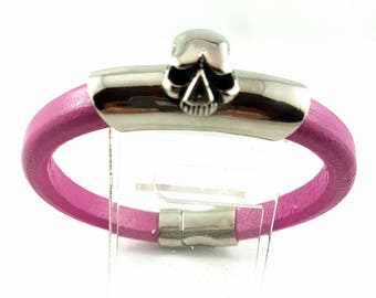 Pink Regaliz Leather Bracelet, Stainless Steel Skull Bracelet, Goth Bracelet, Punk Bracelet, Halloween, Birthday, Christmas Gift For Her