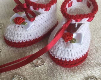 Red and white booties