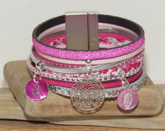 "Leather, suede and leather Cuff Bracelet sequins, hot pink, pink color pastel and silver ""spring flowers"""