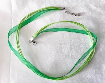 Green organza and cord mounted Choker