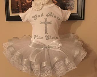 Personalized Baptism Tutu Outfit