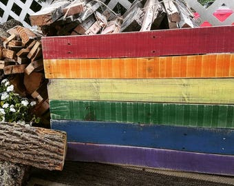 Rustic pallet wood reclaimed rainbow flag sign, rainbow wall decoration, wooden pride flag, porch sign, entryway decoration