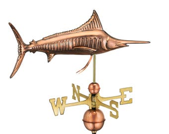 Marlin Weathervane with Roof Mount - Pure Copper