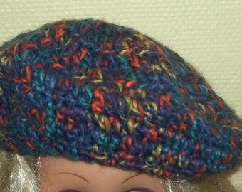 Handmade multicolored wool women beret