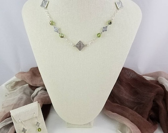 """Celtic Icy Green Crystal & Silver Necklace/Earrings Set - 20"""""""