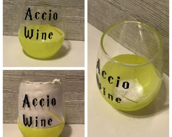 Accio Wine Harry Potter Inspired Stemless Wine Glass