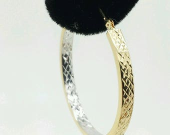 14k Gold Diamond Cut Two Tone Square Tube Hoop Earrings 3mm x 30mm