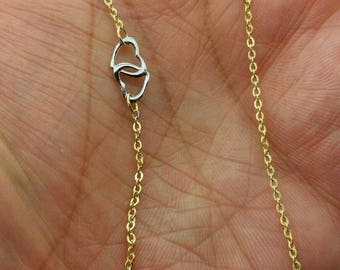 "14k Yellow Gold Adjustable Interlocking Heart Cable Chain Anklet 9"" 10"""