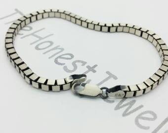 Italian 925 Solid Sterling Silver  Brushed Gun Metal Finish  Mens Square Box Bracelet Boyfriend Gift