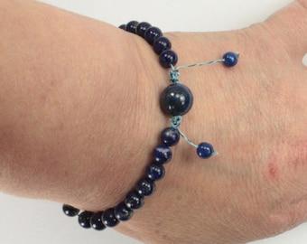 Tibetan lapis lazuli wrist mala bracelet