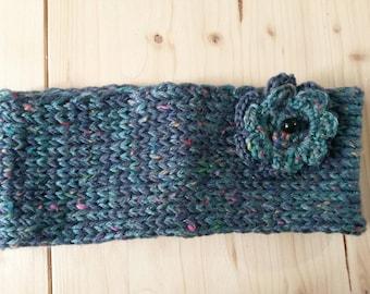 Handmade / woolen knitted winter headband with flower