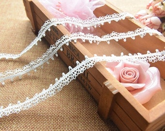Guipure lace embroidered white Largeur1.3cm L013001W