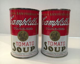 Vntage CAMPBELLS Tomato Soup Can 125th Anniversary Bank 1994, Set of 2