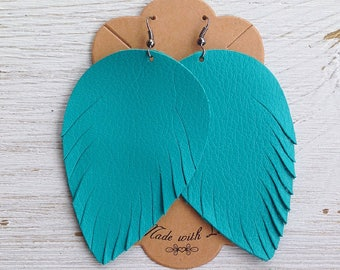 Teal Leather Feather Earrings, Leather Earrings, Feather Earrings, Statement Earrings, Bohemian
