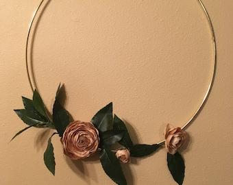 Brown Ranunculus Hoop Wreath