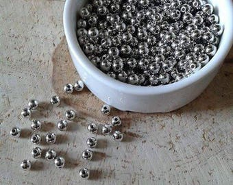 Lot 100 6mm silver beads