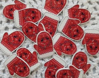 Red Mitten Wooden Buttons, Christmas Buttons, Cardmaking Buttons, Scrapbooking Buttons, Craft Buttons