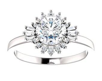 Forever One Moisanite Wedding Band Natalie | round | halo moissanite engagement ring