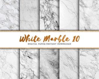 White marble digital paper 10 pack, Marble paper, Marble print, marble background, Marble printable paper, Marble art, Scrap, Christmas