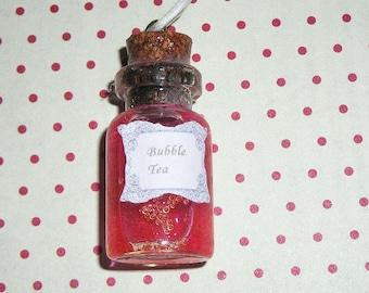 Pink collar bubble tea vial (bottle necklace)