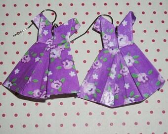Pair of earrings origami (origami dress earrings) dresses