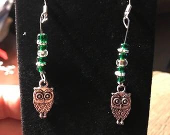 Green owl drop earrings