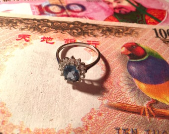 Blue and White Topaz On Silver Ring, Size 10