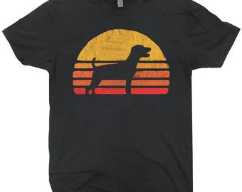 Retro Sun Parson Russell Terrier Silhouette T-shirt Vintage Tee Shirt For Dog Lovers
