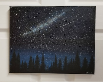 NIGHT SKY PAINTING | Glow in the Dark | Art Glow Outdoors Art Stars, Shooting star, Nature art, Nature painting, Glow, Galaxy art, Space Art