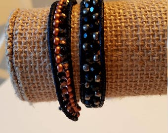 Bronze, black and silver wrap bracelet
