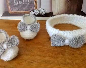 BOOTIES and HEADBAND baby white and silver