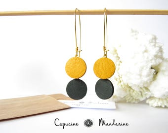 Earrings - round leather - leather yellow mustard green tree