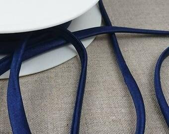 0.50 m spaghetti ruffles 7mm cord - plain Navy Blue 4-7-4072