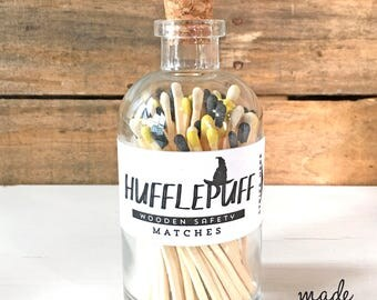 Harry Potter Hufflepuff House Tip Colored Matches. Match Sticks Decorative Glass Bottle Hogwarts Unique Gifts Best Seller Most Popular Item