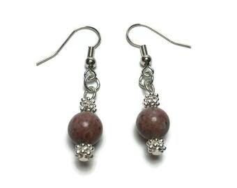 Genuine rose jasper bead earrings, gift for her, under 10, holiday gift, teacher gift, jasper beads, beaded earrings, nickel free, drop ear
