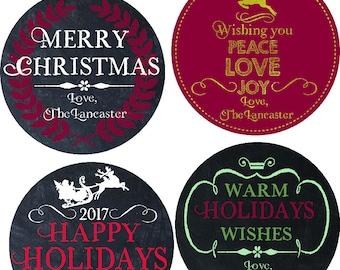 Christmas Gift Labels - HAPPY HOLIDAYS -Printable, calligraphy, Christmas cookies, Chalkboard, last name, christmas labels, Merry Christmas