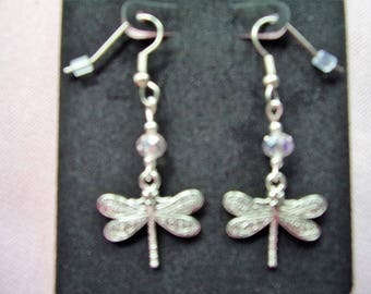 Silver dragonfly and pink crystal earrings