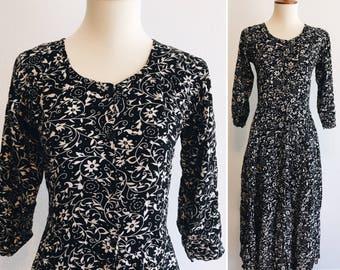 90s Black and White Floral Boho Dress