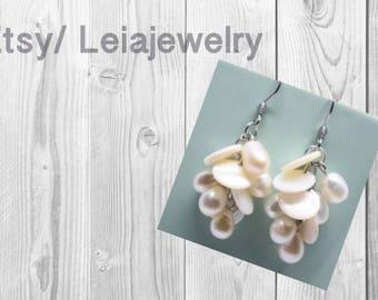 Freshwater pearl & Natural shell , Dangle Earrings